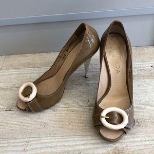 Escada open toe heels